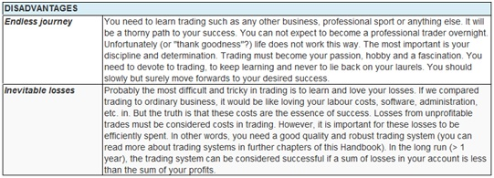 Tab. 2 Disadvantages of Trading